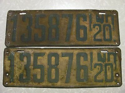 PAIR 1920 INDIANA LICENSE PLATE  original paint FREE SHIPPING #135876