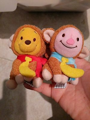 disney Winnie the Pooh and piglet plush keychain in a monkey suit