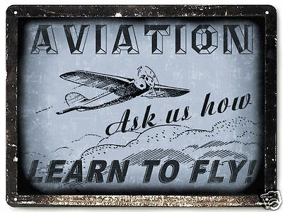 AIRPLANE metal SIGN model FLYING lessons VINTAGE style KIDS room educational 031
