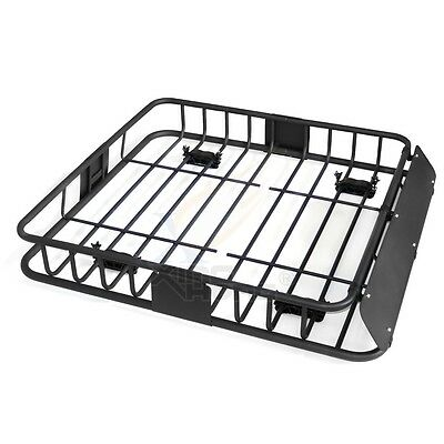 """43"""" Universal Black Roof Rack Cargo Carrier w/ Luggage Hold Basket SUV"""