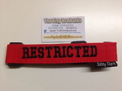 RESTRICTED  adjustable Showing ARMBAND in Red & black