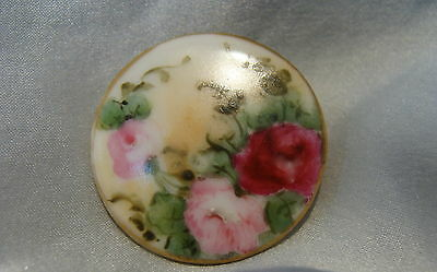 ANTIQUE VICTORIAN HAND PAINTED PORCELAIN/CHINA/CERAMIC STUD BUTTON~RoSeS~