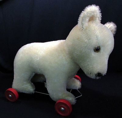 1980s Hermann Mohair Teddy Bear Original Pull Toy Wheels West Germany 12 Inches