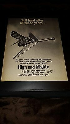 Uriah Heep High And Mighty Rare Original Promo Poster Ad Framed!