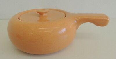 Russel Wright - Stuebenville - Covered Casserole - Cantaloupe - Stick Handle