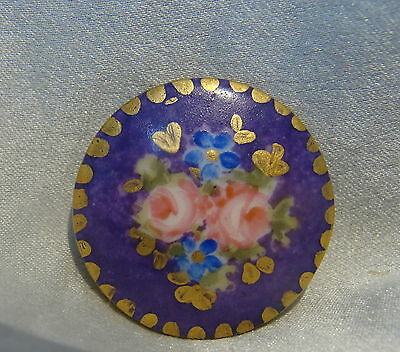 ANTIQUE VICTORIAN HAND PAINTED PORCELAIN/CHINA/CERAMIC BUTTON~RoSeS~FMN'S~SWEET~