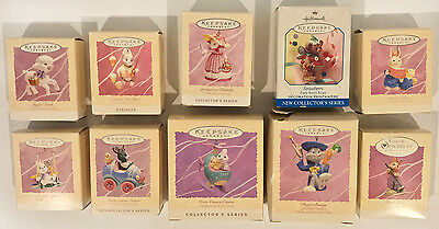 Lot of 10 Hallmark Easter Collection / Spring ornaments 1994-99 All IOB + stands
