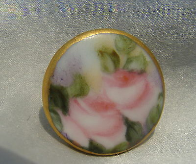 ANTIQUE VICTORIAN HAND PAINTED PORCELAIN/CHINA/CERAMIC STUD BUTTON~RoSeS~SwEEt~