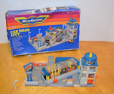 Vintage Micro Machines Car Wash City Playset With Box Galoob 1989 1980's Toys