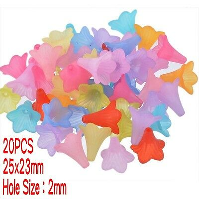 20PCS Transparent Frosted Acrylic Beads Dyed Flower Mixed Color Beading Crafts