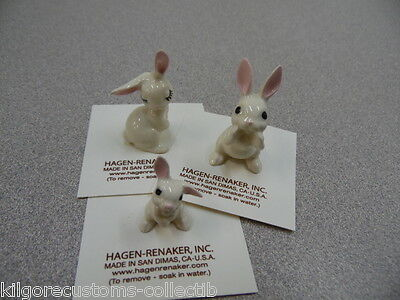 Hagen Renaker Rabbit Set of 3 Papa,Mama,Baby Bunny Figurine Miniature  NEW