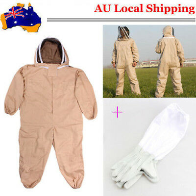 Full Beekeeping Suit Bee Suit Heavy Duty & Leather Ventilated Keeping Gloves AU