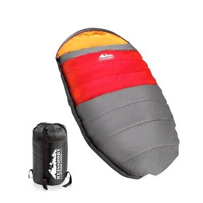 NEW -15 to 10°C Compact Pebble Shape Camping Thermal Sleeping Bag Red 220x100cm