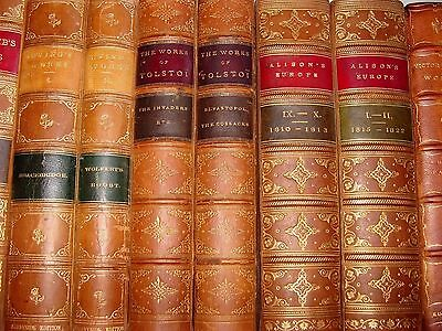 Old LOT OF QUALITY LEATHER Books 1800's FINE BINDING LIBRARY DECORATIVE SET RARE