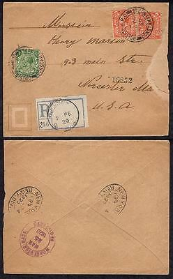 GB #159,162(2) Posted in Turkish Empire, 1920 Constantinople, Registered to USA