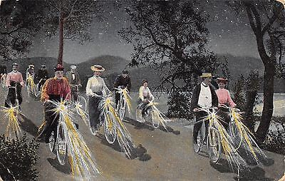 Victorian Ladies & Gents Ride Bicycles at Night~Lights~Tiffin Ohio 1908 Postmark