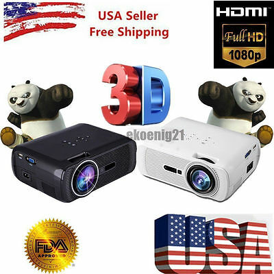 7000 Lumens Full HD 1080P LCD 3D VGA HDMI TV Home Theater Projector Cinema US ~A