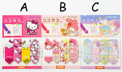 Hello Kitty, My Melody,Little Twin Stars Post-it Sticky notes 1 set of 2 pack