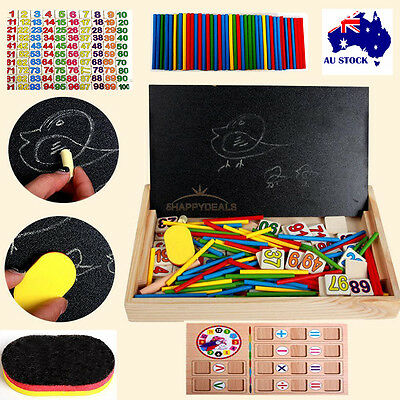 Educational Wooden Blocks Alphabet Numbers Building Toy Gifts For Kids Boys Girl