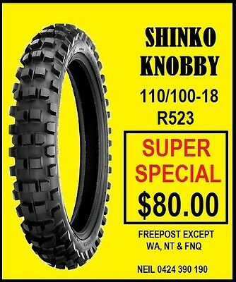 Shinko 110/100-18 Knobby Mx Tyre New Special Clearance Price Free Post Bayswater