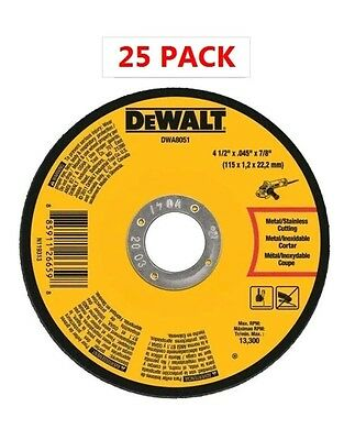 "25) DEWALT DWA8051 Metal Cut-Off Wheel, 4-1/2"" x .045"" x 7/8"" 13300 Rpm"