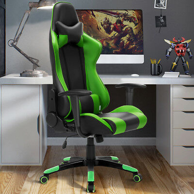 Green Computer Racing Gaming Sports Lift Chair Faux Leather Executive Recliner