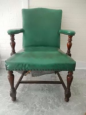 Antique 19th century Green Library Chair solid wood ( oak ?) faux leather