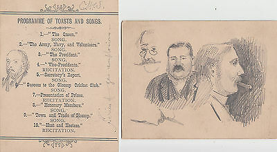 Lot of 2 x Victorian Glossop Cricket Club programmes - pencil sketches of people