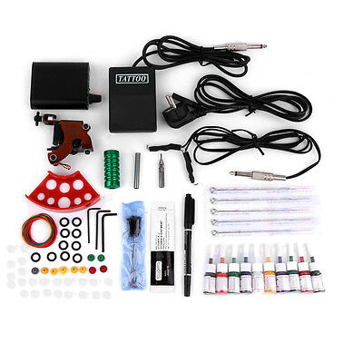 Tattoo Kits Gun Machine Power Pedal 10 Color Ink Sets Needle Gripping Tip ~A