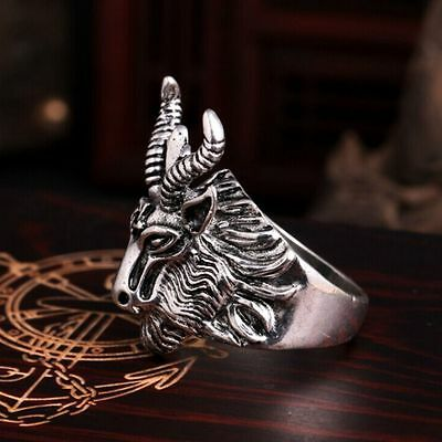 Punk Antique Silver Pentacle Satanic Goat Sheep Head Ring Gothic Men's Jewelry