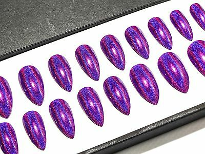 Purple Holographic Stiletto Press On Fake Faux False Acrylic Glue Stick On Nails