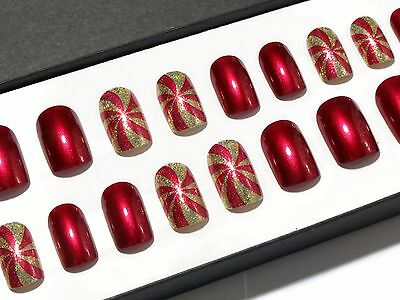 Red & Gold Short Hand Painted Press On Oval False Acrylic Glue On Fake Nails Set