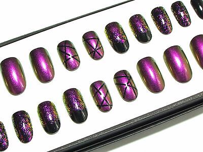 Colour-Shifting Short Hand Painted Press On Oval False Acrylic Glue On Nail Set
