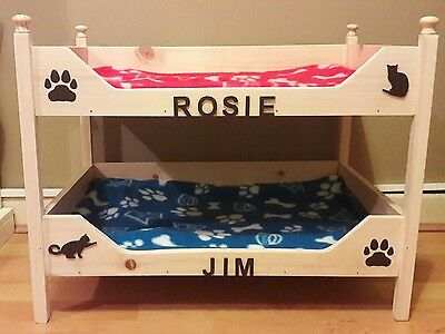Handmade personalised wooden cat bunk beds