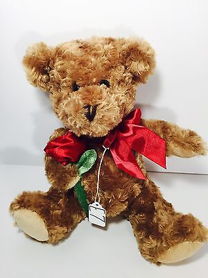 "Dan Dee Collector Choice Curly Hair Brown Bear With Rose 11"" In Seated Pos. (E7)"