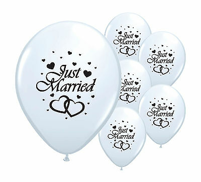 "20 Just Married White 12"" Helium Quality Pearlised Balloons"