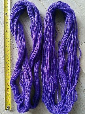 2 skeins of purple pure wool tapestry yarn, Sunbow 3ply, approx 70+ yds