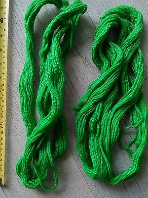 2 skeins of emerald green pure wool tapestry yarn, Sunbow 3ply, approx 70+ yds