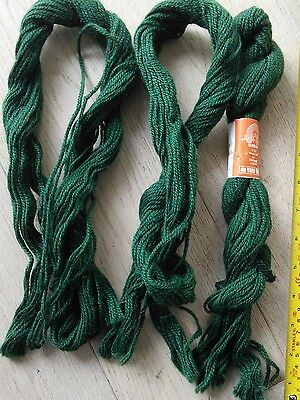 3 skeins of forest green pure wool tapestry yarn, Sunbow 3ply, approx 120 yds