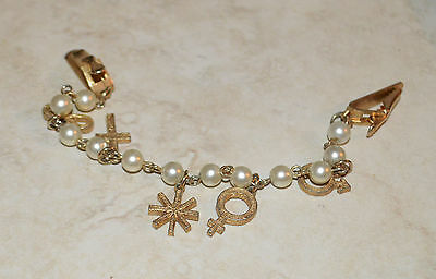 Vintage Sweater Clip Clasp Gold Tone Metal Charms & Faux Pearls