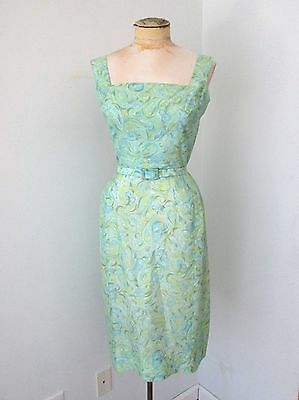 Vintage Green Blue mid century dress Sheer Silky 50s 60s with belt wiggle pinup