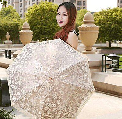 New Durable & Portable Stylish Folding Ladies Sun Umbrella Anti-uv Lace Parasol