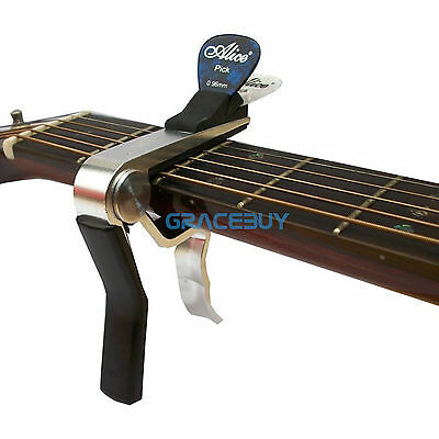 Silver Alloy  Acoustic Electric Classical Guitar Capo Tuner With Pick Holder