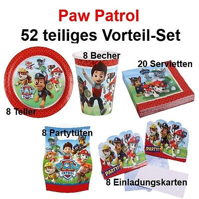 53 tlg super spar set paw patrol kinder geburtstag party deko hund polizei eur 14 90. Black Bedroom Furniture Sets. Home Design Ideas