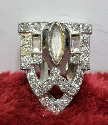 Sweater Clip Silver Tone Metal with Rhinestones