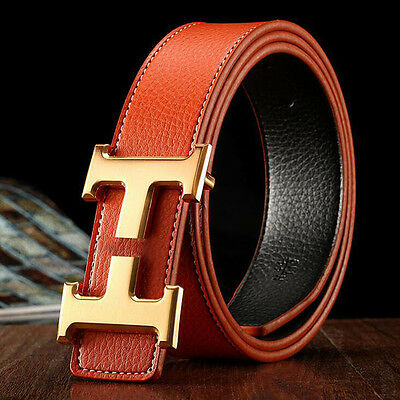 "Hot sell Men's Fashion Belts Genuine Leather""H"" Buckle Waist Belt Waistband"