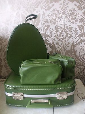 Vintage Retro Luggage Green Small Dainty Hard Suitcase & Matching Vanity Case
