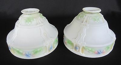 "Matching Pair Vintage Art Nuveau Milk Glass Lamp Shades - 2 1/4"" Fitter    SH227"