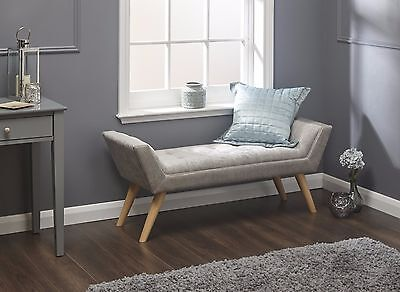 Milan Silver Fabric Upholstered Deep Buttoned Bench/Window Seat