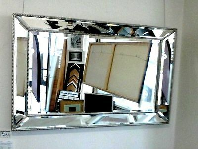 New Large Silver Beaded wall Mirror